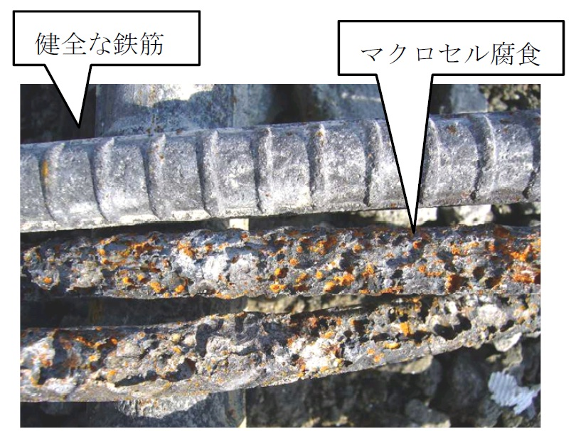 上面増厚後の鉄筋腐食状況例